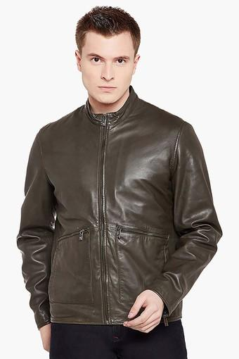113d60569 Mens Band Collar Casual Leather Jacket