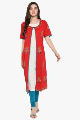 JUNIPERWomens Embroidered A-Line Kurta With Contrast Piping And Lace Detailing