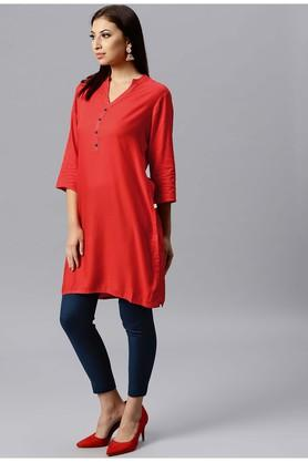 Womens Mandarin Neck Solid Kurta and Pant Set