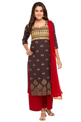 KASHISH Womens Notched Embroidered Kurta And Palazzo Set