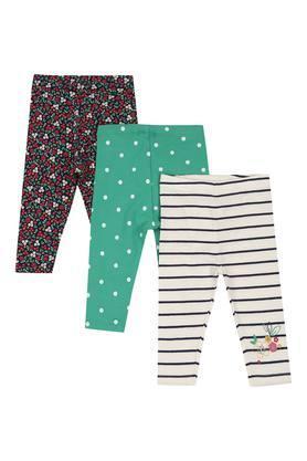 Girls Striped Dot Pattern and Printed Leggings - Set of 3