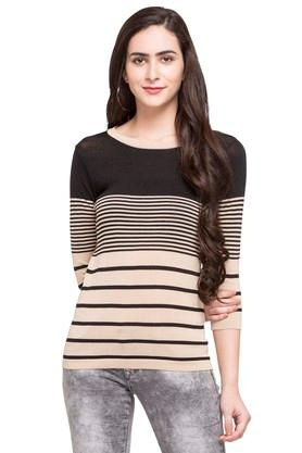 STOP Womens Round Neck Stripe Sweater - 203744515