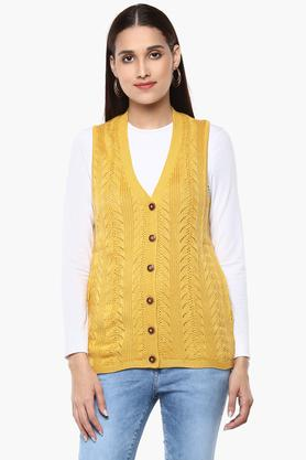APSLEY Womens V Neck Self Pattern Cardigan