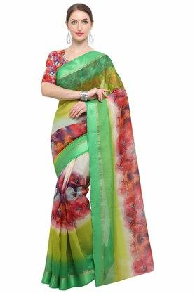 RACHNA Womens Art Silk Digital Printed Saree With Blouse