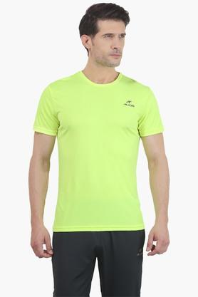 ALCIS Mens Slim Fit Round Neck Solid T-Shirt