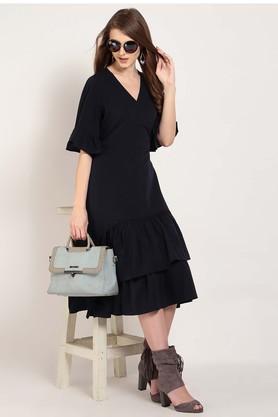 Womens Surplice Neck Solid Midi Dress