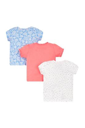 Girls Round Neck Applique Printed and Solid Tee - Pack Of 3