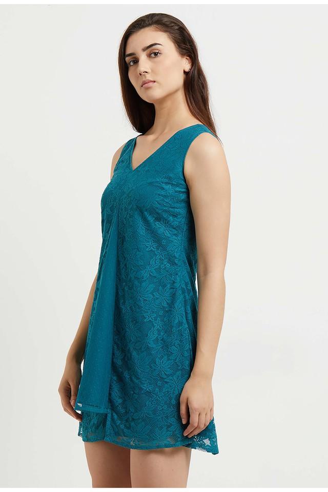 Womens V-Neck Lace A-Line Dress