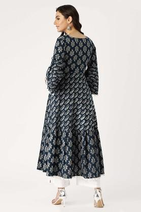 Womens V-Neck Printed Kurta