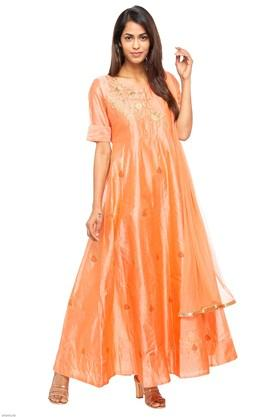 Womens Round Neck Embroidered Gown with Dupatta