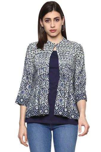 Womens Mandarin Collar Printed Top with Shrug