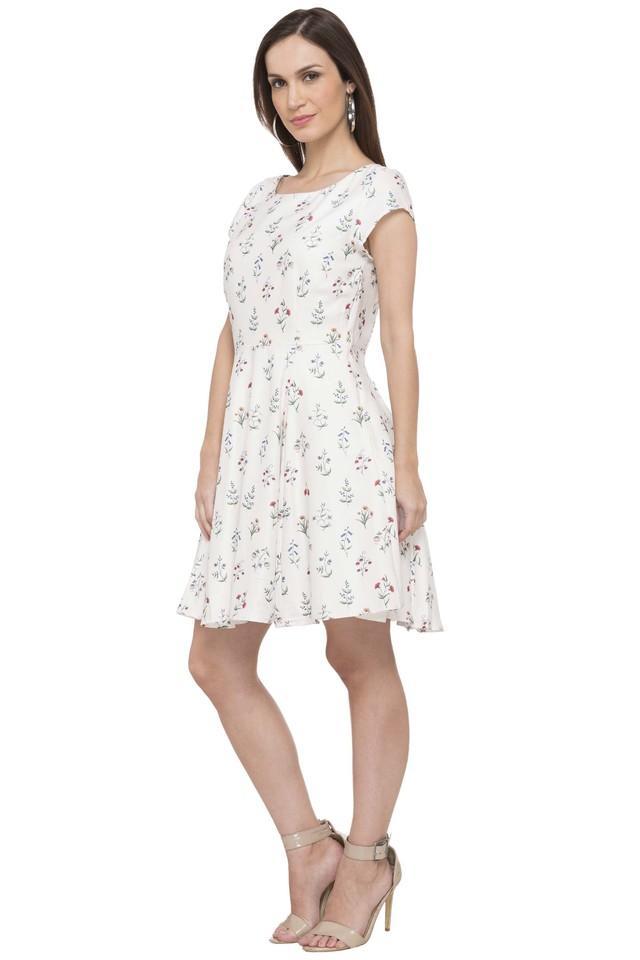Womens Round Neck Printed Skater Dress
