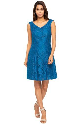Womens V- Neck Lace A-Line Dress