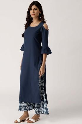 Womens Round Neck Solid Kurta and Palazzo Set