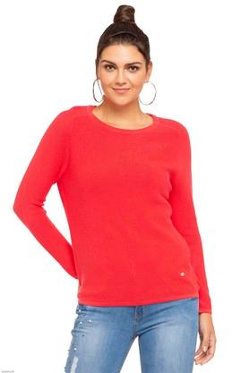 ALLEN SOLLY Womens Round Neck Solid Sweater