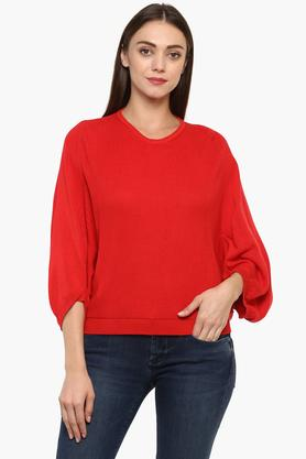 LEVIS Womens Round Neck Knitted Pattern Sweatshirt