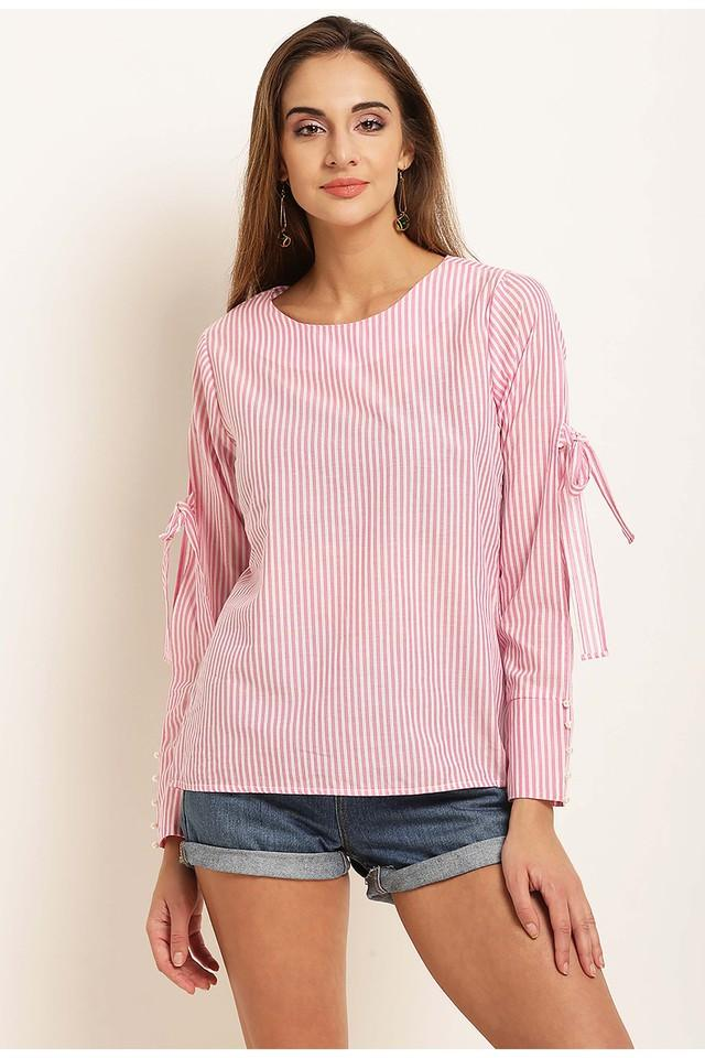 Womens Round Neck Stripes Top