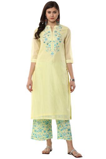 37b024218fc Buy BIBA Womens Mandarin Collar Embroidered Kurta and Pants Set ...