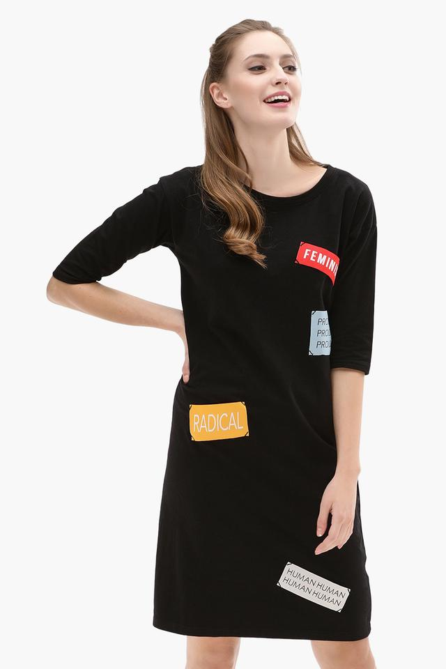 Womens Round Neck Patch Shift Dress