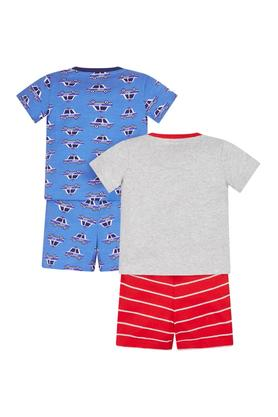 Boys Round Neck Printed Top and Shorts - Pack Of 2