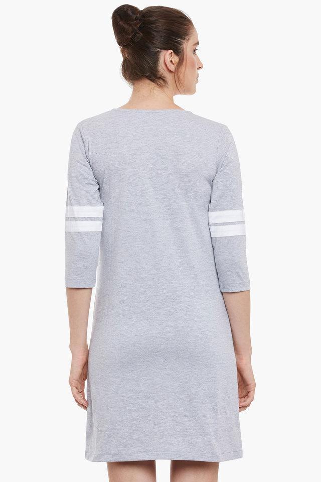 Womens Round Neck Relaxed Fit Slub T-Shirt Dress
