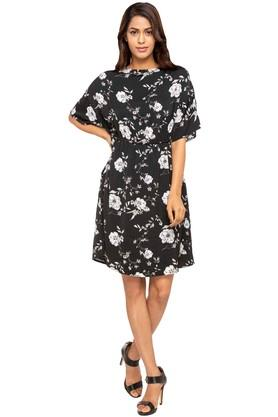 Womens Floral Print Empire Waist Dress
