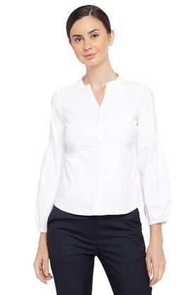 Womens Mandarin Collar Solid Top