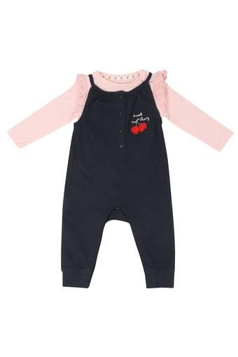 4bc95b0e1 Buy MOTHERCARE Girls Round Neck Solid Dungarees and Top Set ...