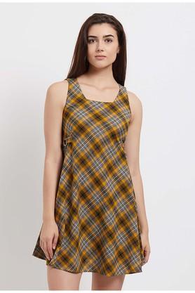 Womens Square Neck Checked A-Line Dress