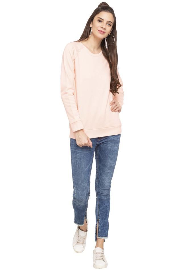 Womens Round Neck Slub Knitted Sweatshirt
