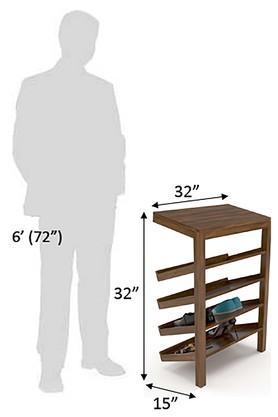 Walnut Four Level Shoe Rack