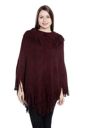 FUSION BEATS Womens Round Neck Knitted Pattern Poncho