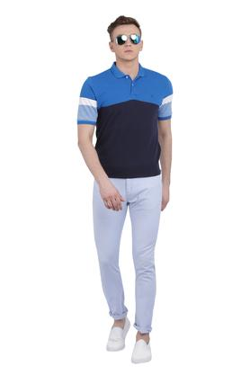 Mens Straight Fit 5 Pocket Solid Trousers