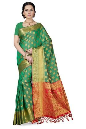 ISHINWomens Gold Woven Saree With Blouse Piece - 204668414_8059