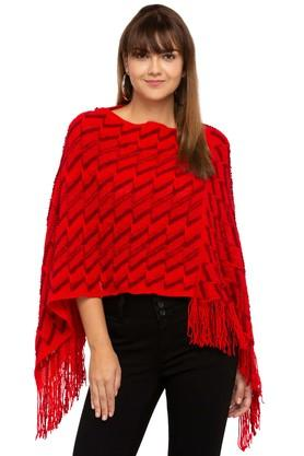 AND Womens Round Neck Knitted Pattern Poncho