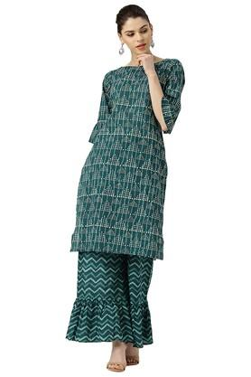 LIBAS Womens Printed Straight Kurta With Palazzo Pants - 203976721_9308