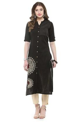 VARANGA Women Printed A Line Kurta With Pants