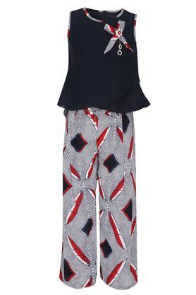 Girls Round Neck Printed Top and Pants Set