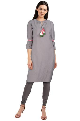Womens Tie Up Neck Slub Kurta