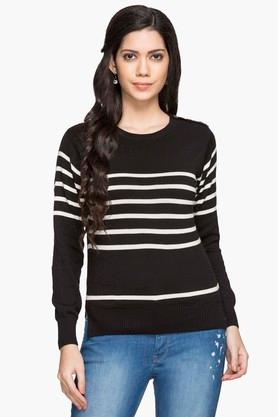 EXCLUSIVE LINES FROM BRANDS Womens Round Neck Stripe Sweater