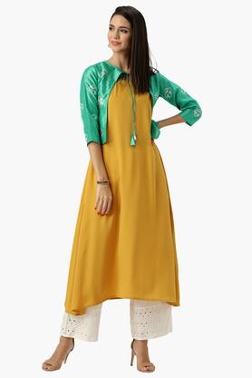 LIBASWomens Tie Up Neck Solid A-Line Jacket Style Kurta - 203367707