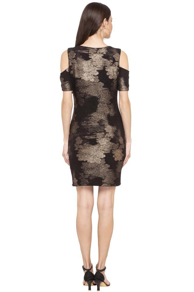 Womens Round Neck Shimmer Shift Dress