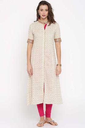 JASHNPure Cotton Ethnic Motifs Mandarin Collar Kurta