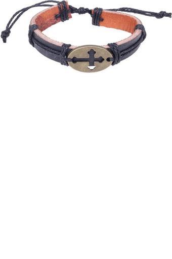 Mens Cross Charm Leather Bracelet