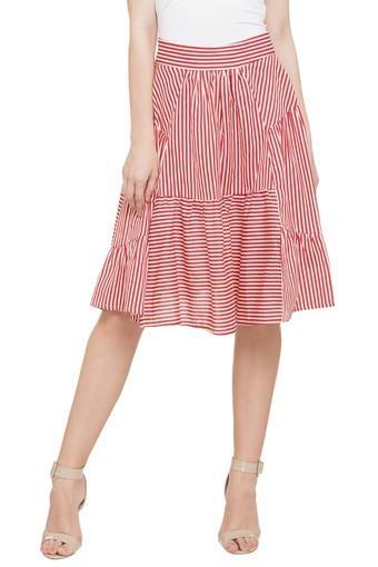 Womens Striped Knee Length Skirt