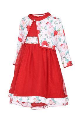 Girls Round Neck Solid Layered Dress with Shrug