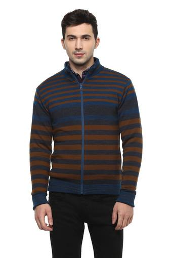 Mens Zip Through Neck Stripe Jacket