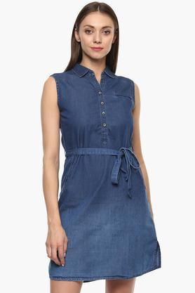 Womens Solid A-Line Dress