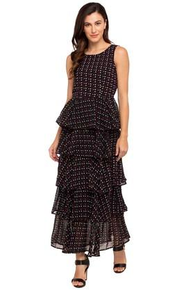 Womens Round Neck Printed Tiered Maxi Dress