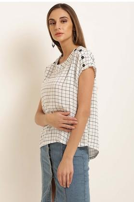 Womens Round Neck Check Top
